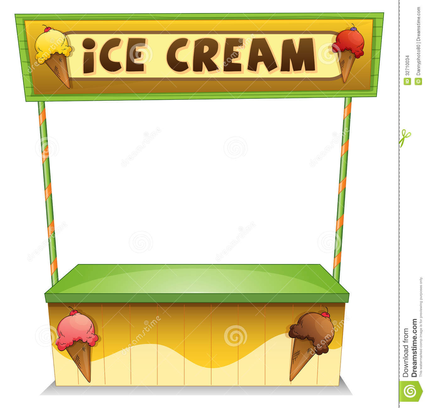 Illustration of an ice cream stand on a white background.