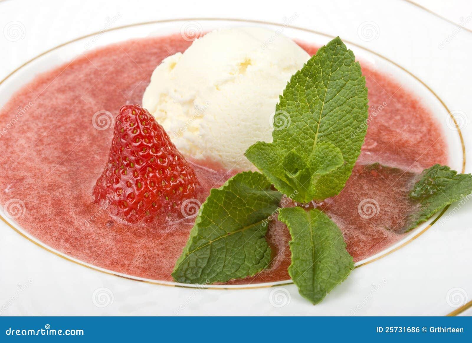 Ice-cream in a strawberry