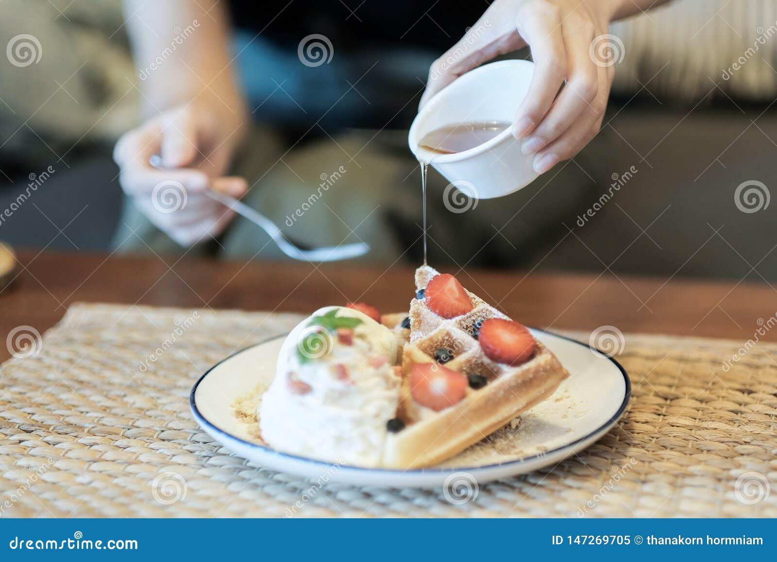 Ice Cream Strawberry Waffle