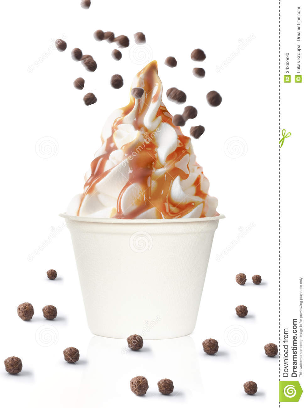 Ice cream sundae with caramel topping and chocolate balls.