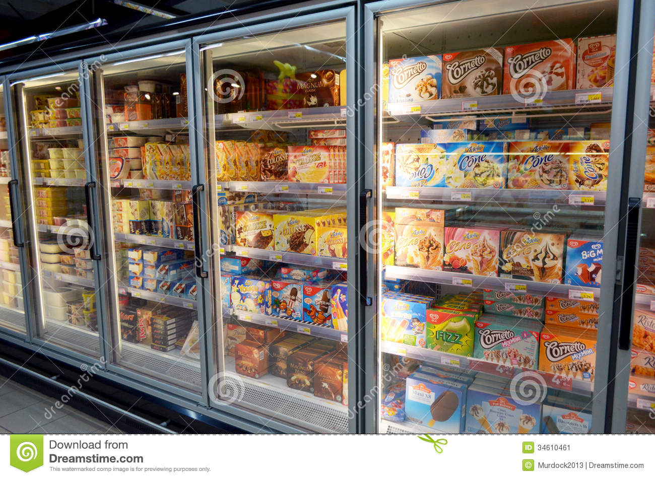 Ice Cream In Supermarket Editorial Photo - Image: 34610461