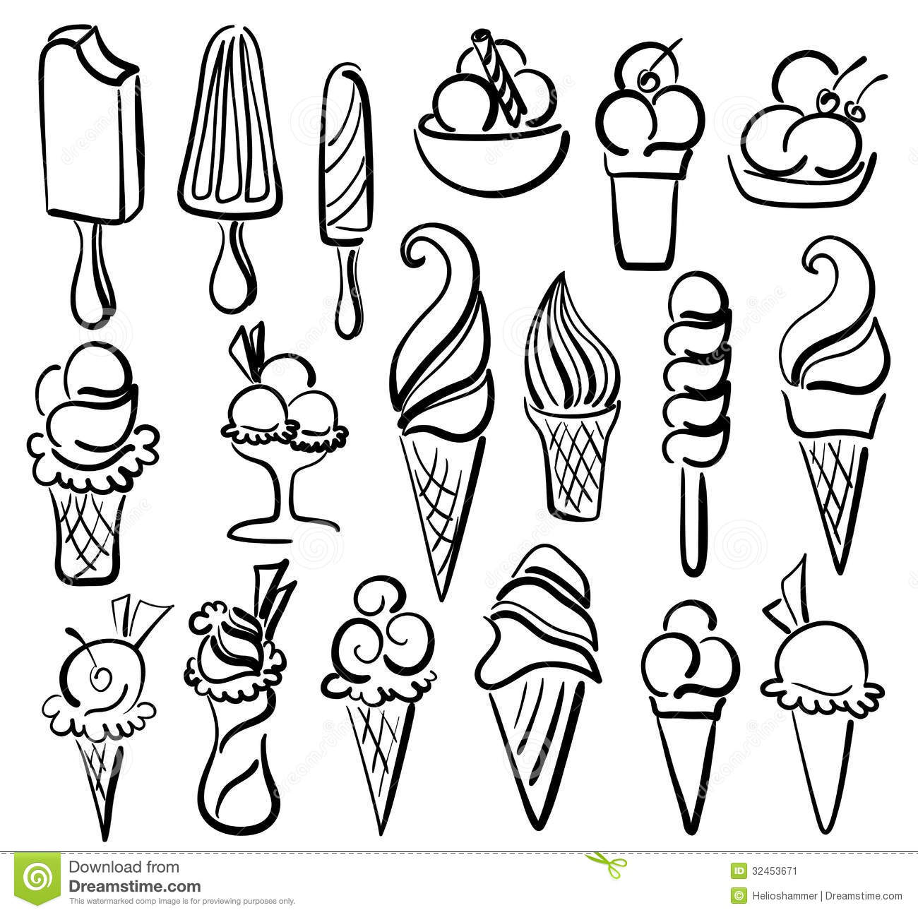 Ice Cream Symbol Set Stock Vector Illustration Of Cupcake 32453671
