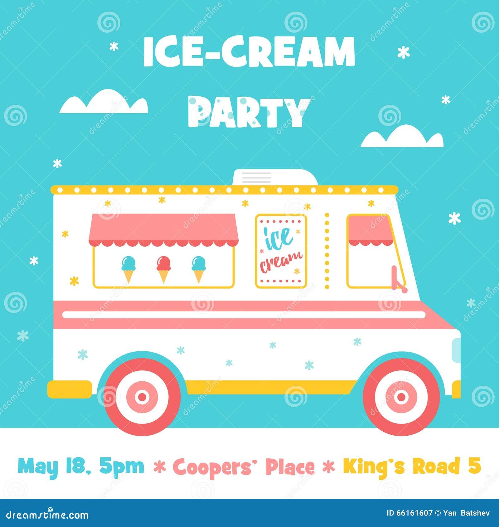 Ice Cream Truck. Party Invitation Stock Vector - Image: 66161607