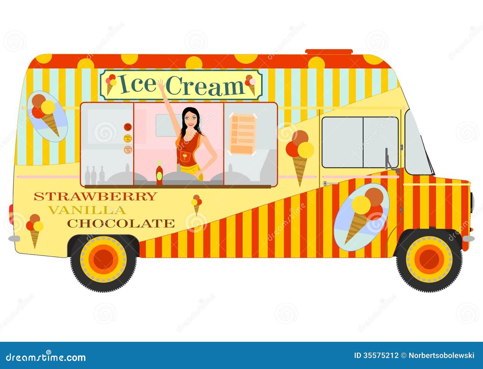 Ice Cream Van With Girl Inside Stock Vector Image 35575212