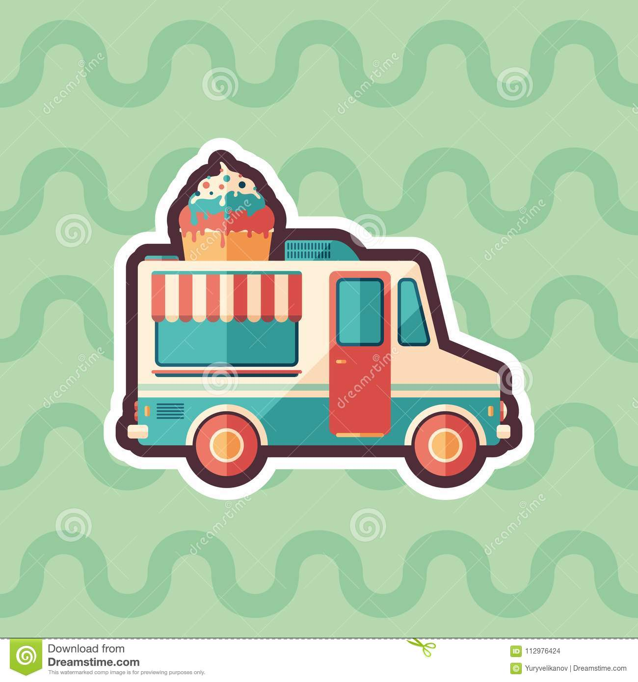 Ice cream van sticker flat icon with color background.