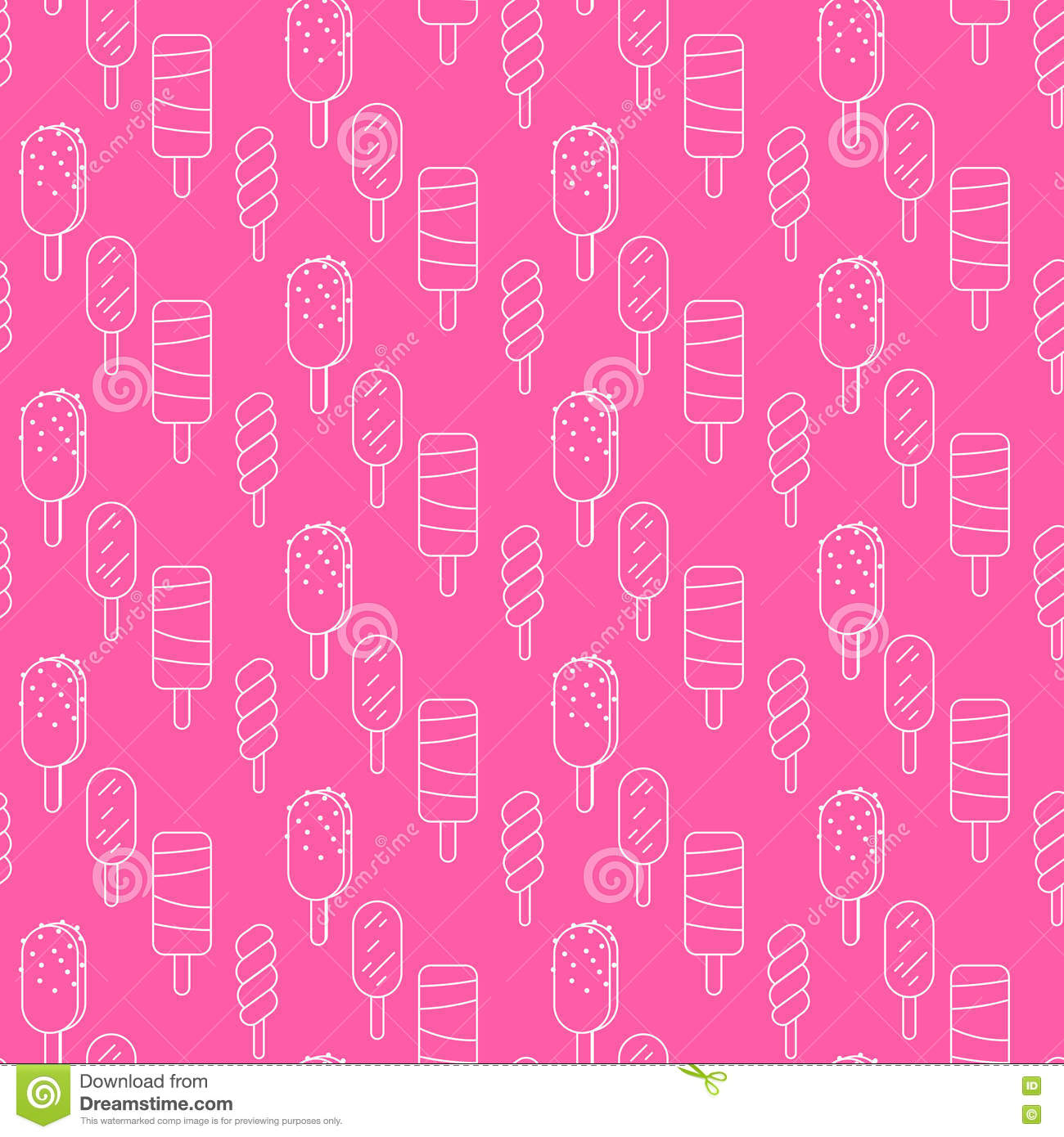 Seamless Wallpaper Pattern With Ice Cream Icons Stock: Ice Cream Vector Seamless Pattern. Summer Collection
