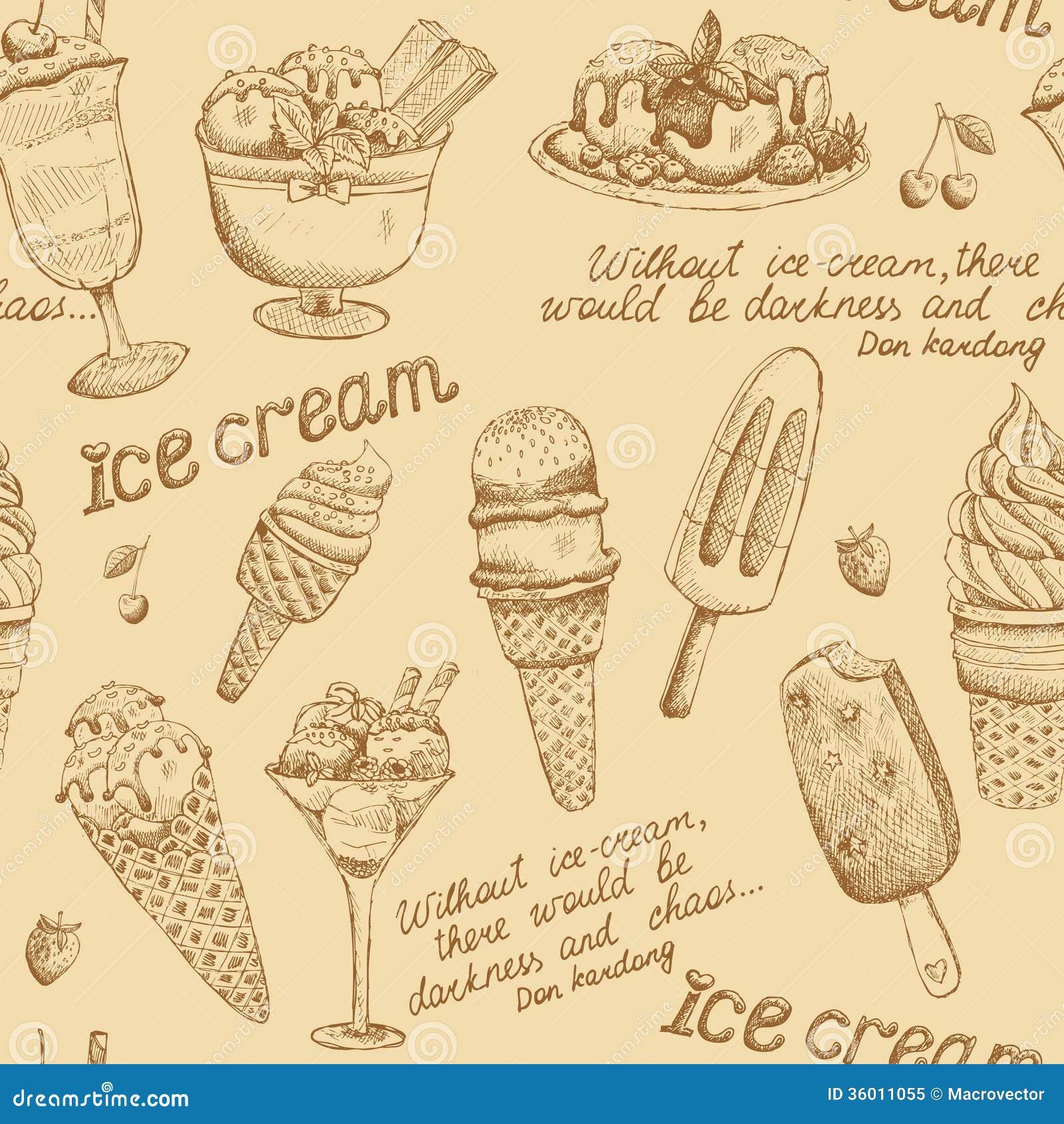 Ice Cream Vintage Pattern Stock Vector. Illustration Of