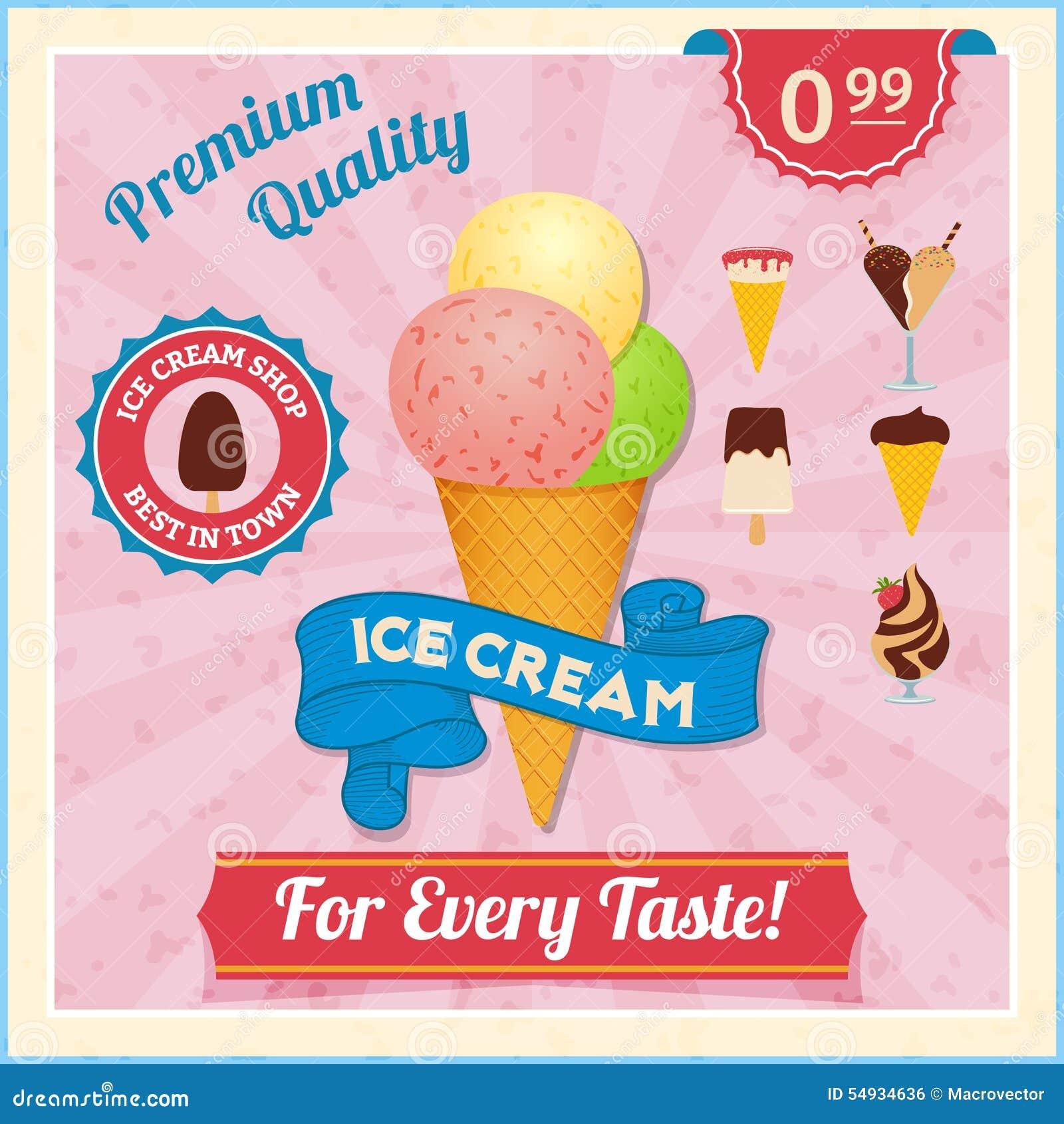 Fresh Ice Cream Stick In Summer Wallpaper Vector: Ice Cream Vintage Poster Stock Vector. Illustration Of