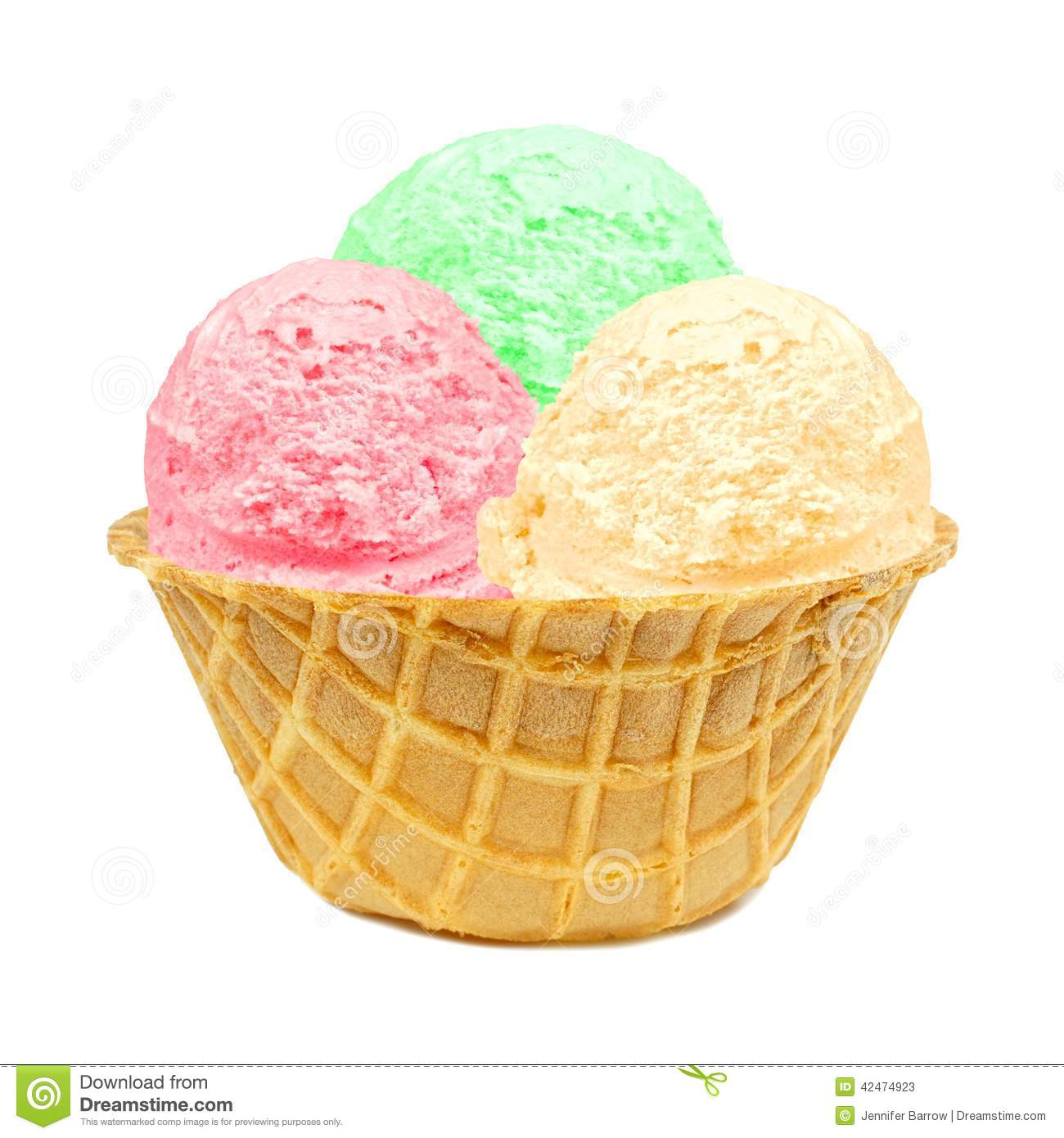 Ice Cream In A Waffle Bowl Stock Photo - Image: 42474923