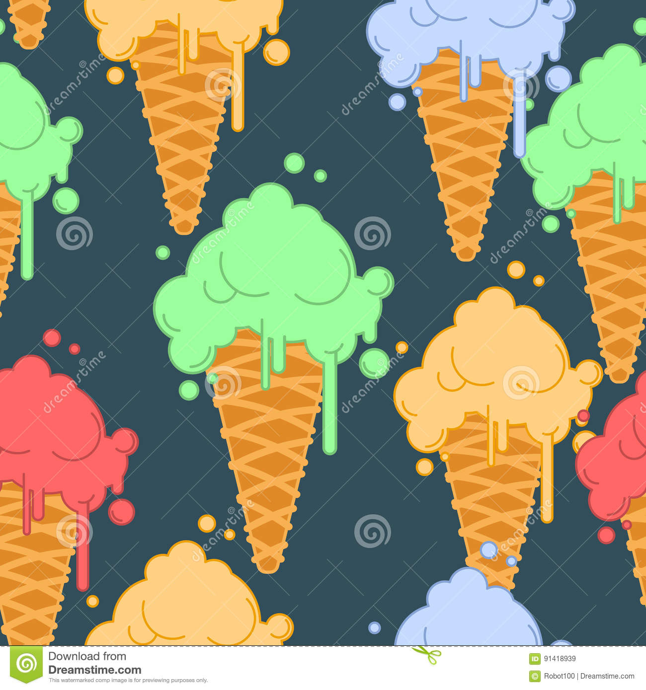Ice cream in waffle cone seamless pattern. Cold dessert texture.