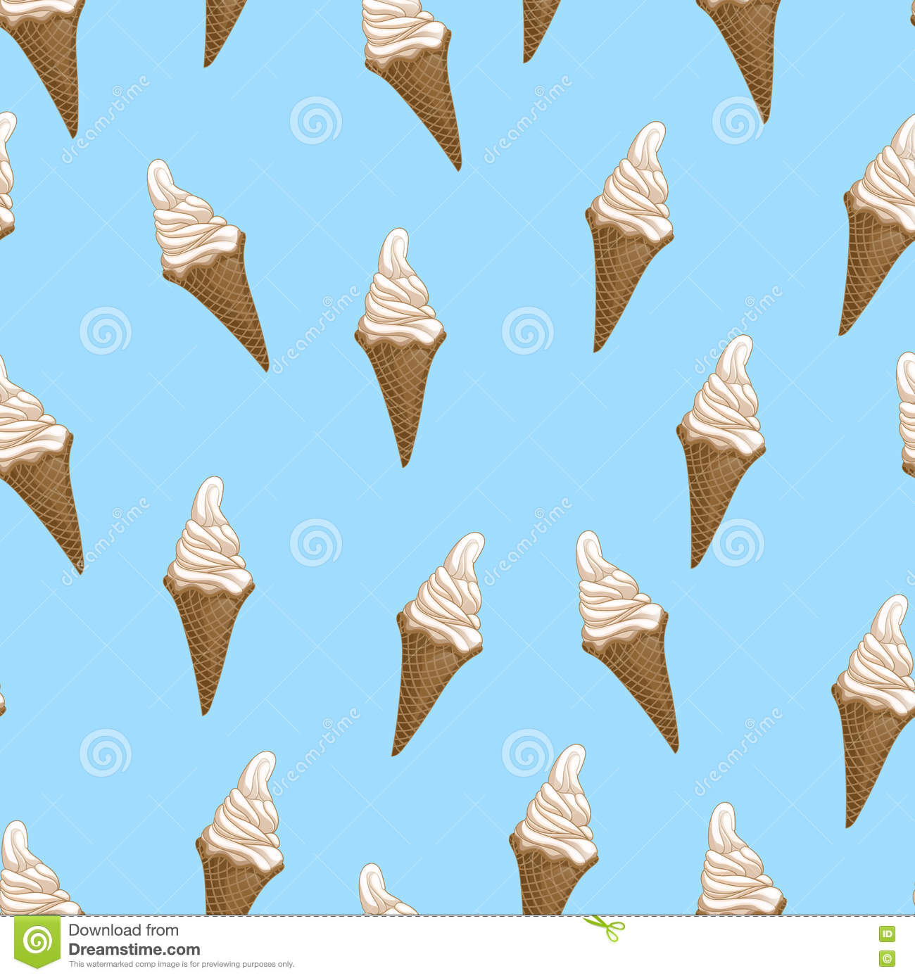 Ice Cream Cones Seamless Pattern Background Stock Vector: Ice Cream Waffle Cones Seamless Pattern. Stylized Vector