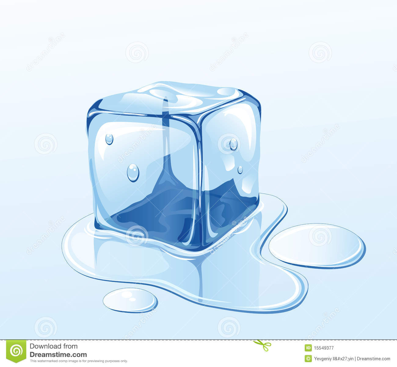 Ice cube and water Single Ice Cube