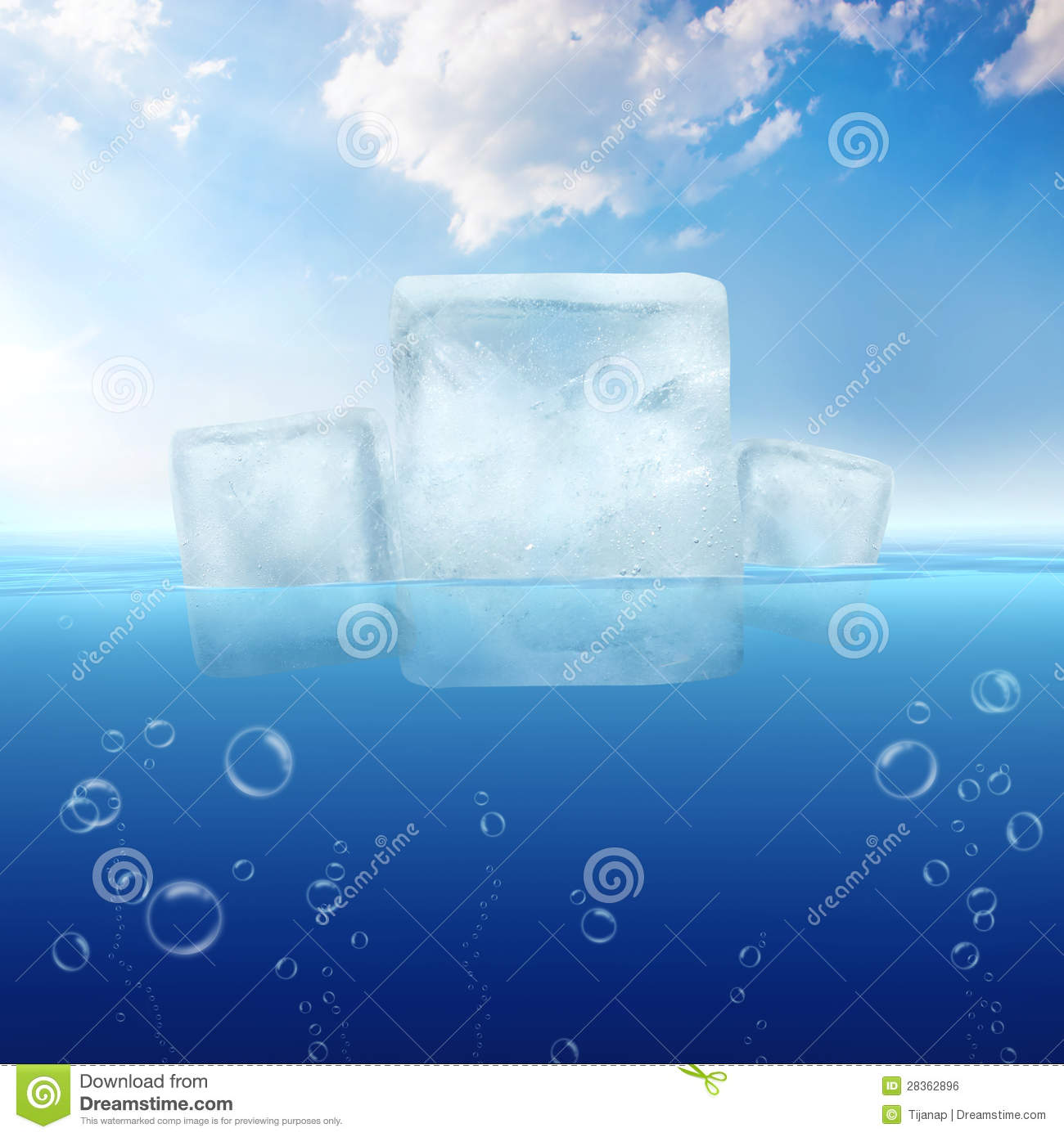 ice cubes floating in the sea stock illustration