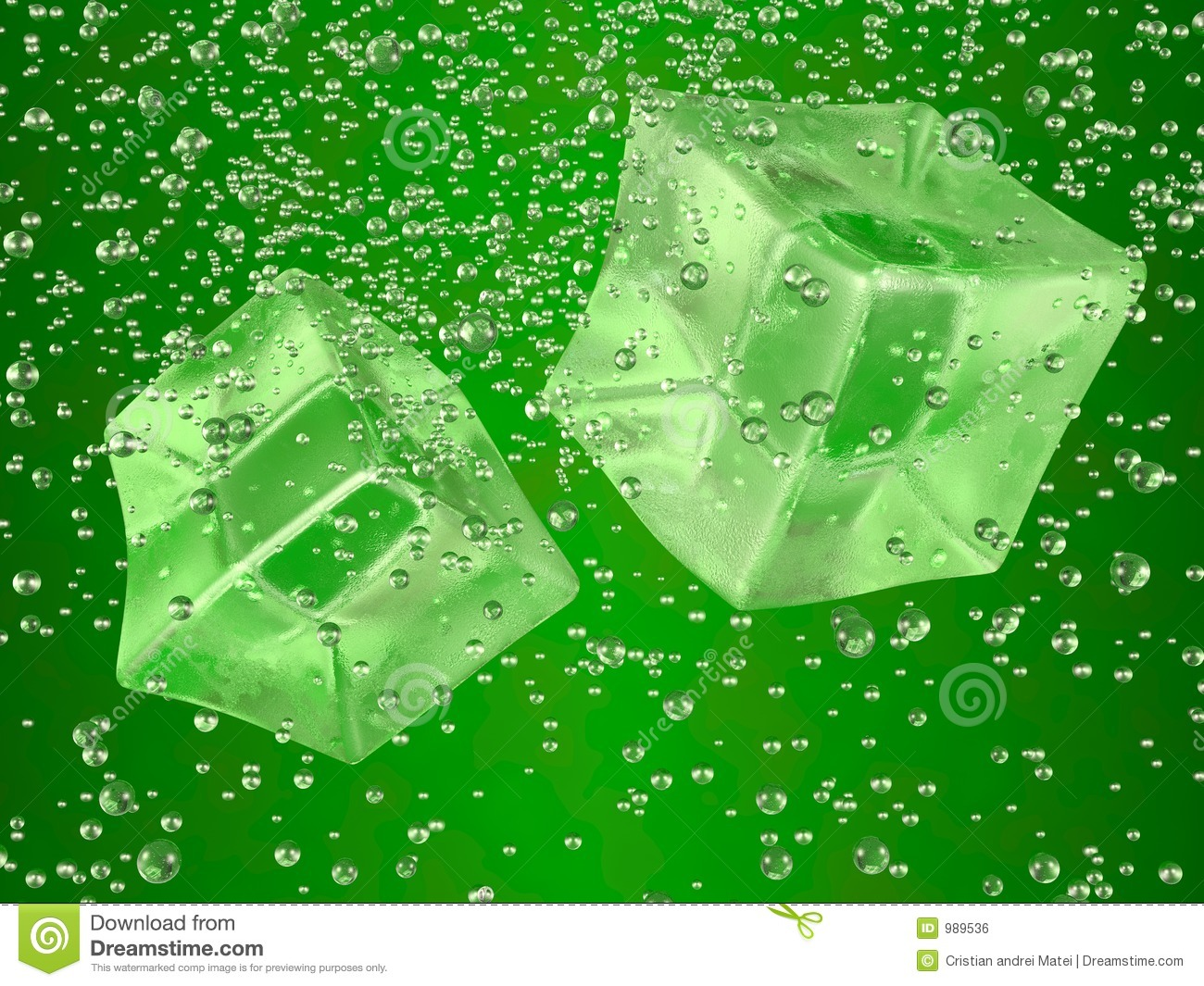 couple of ice cubes swimming in green drink. Photorealistic 3D ...