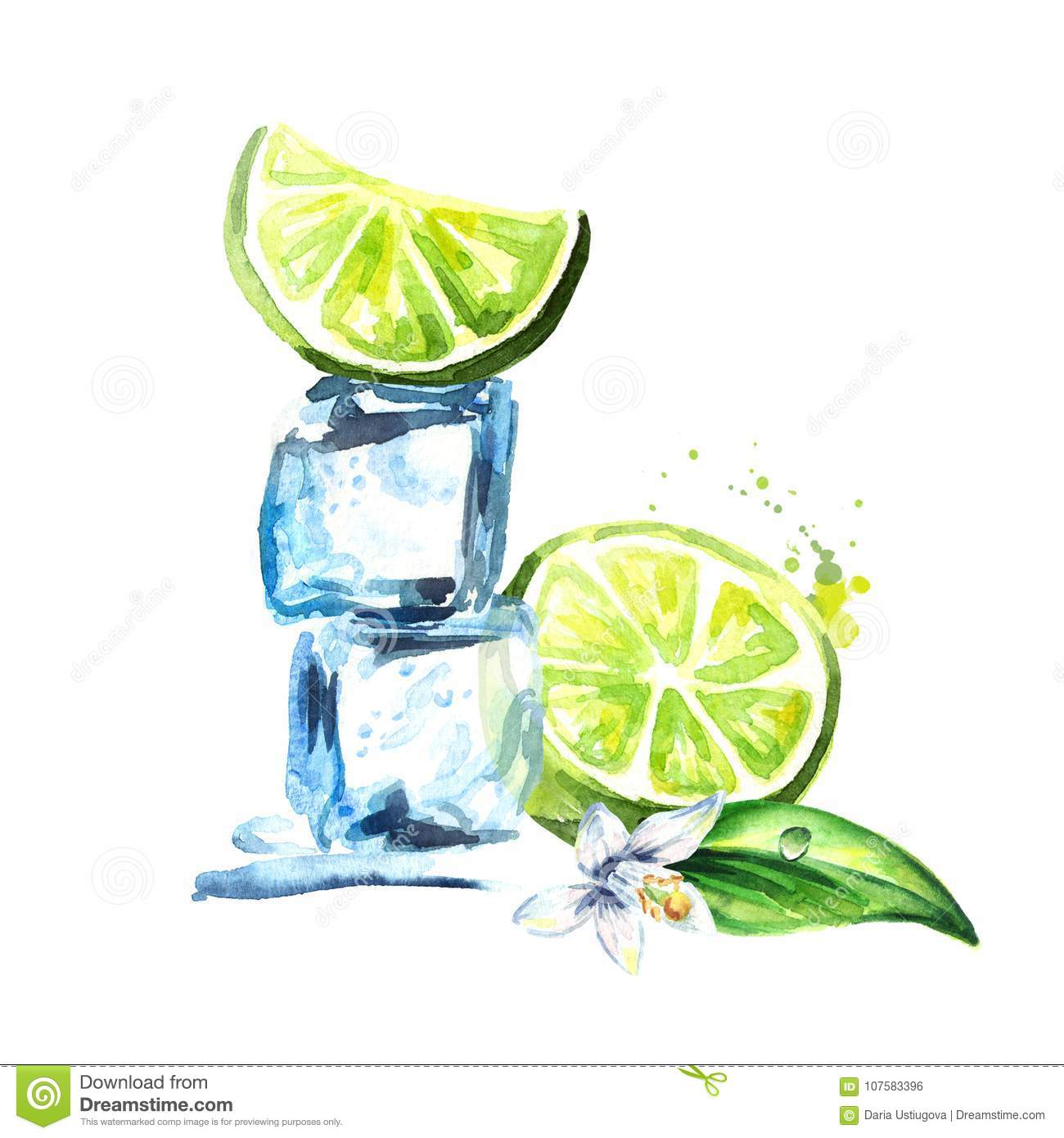 Ice cubes and lemon with flower isolated on white background. Wa