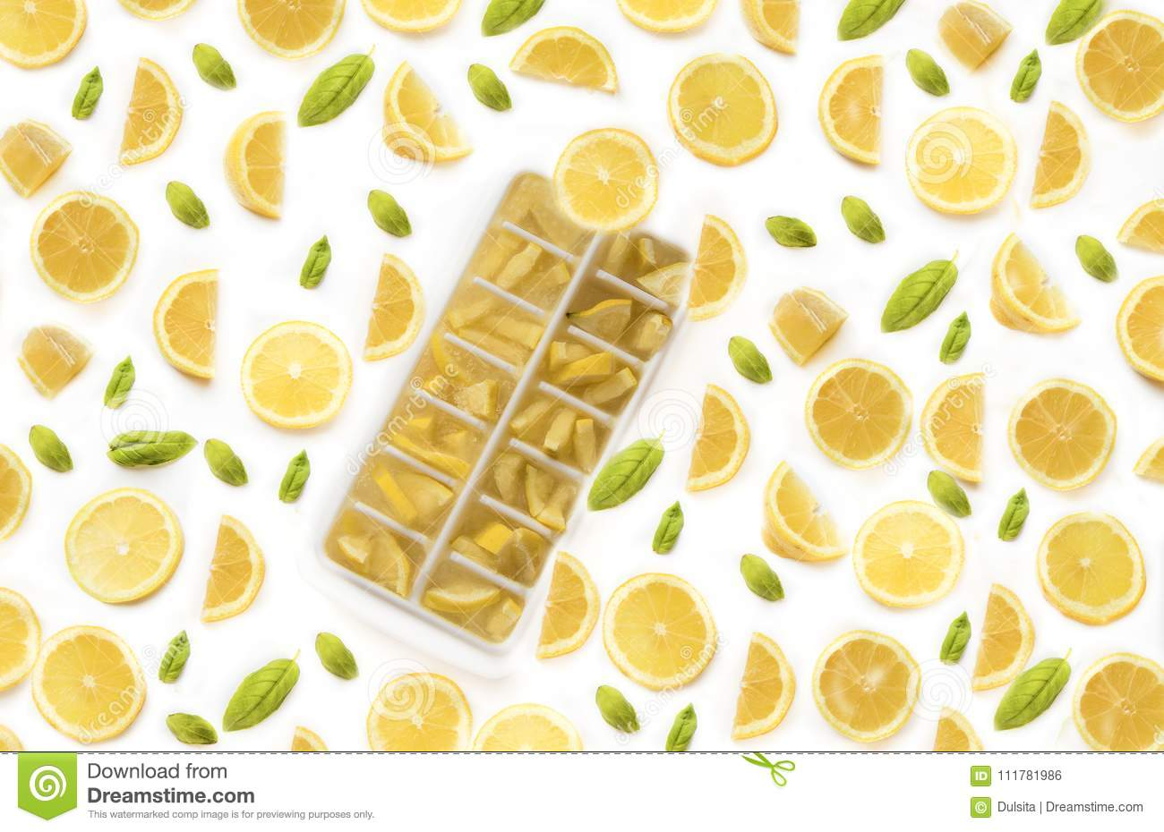 Ice cubes with lemons