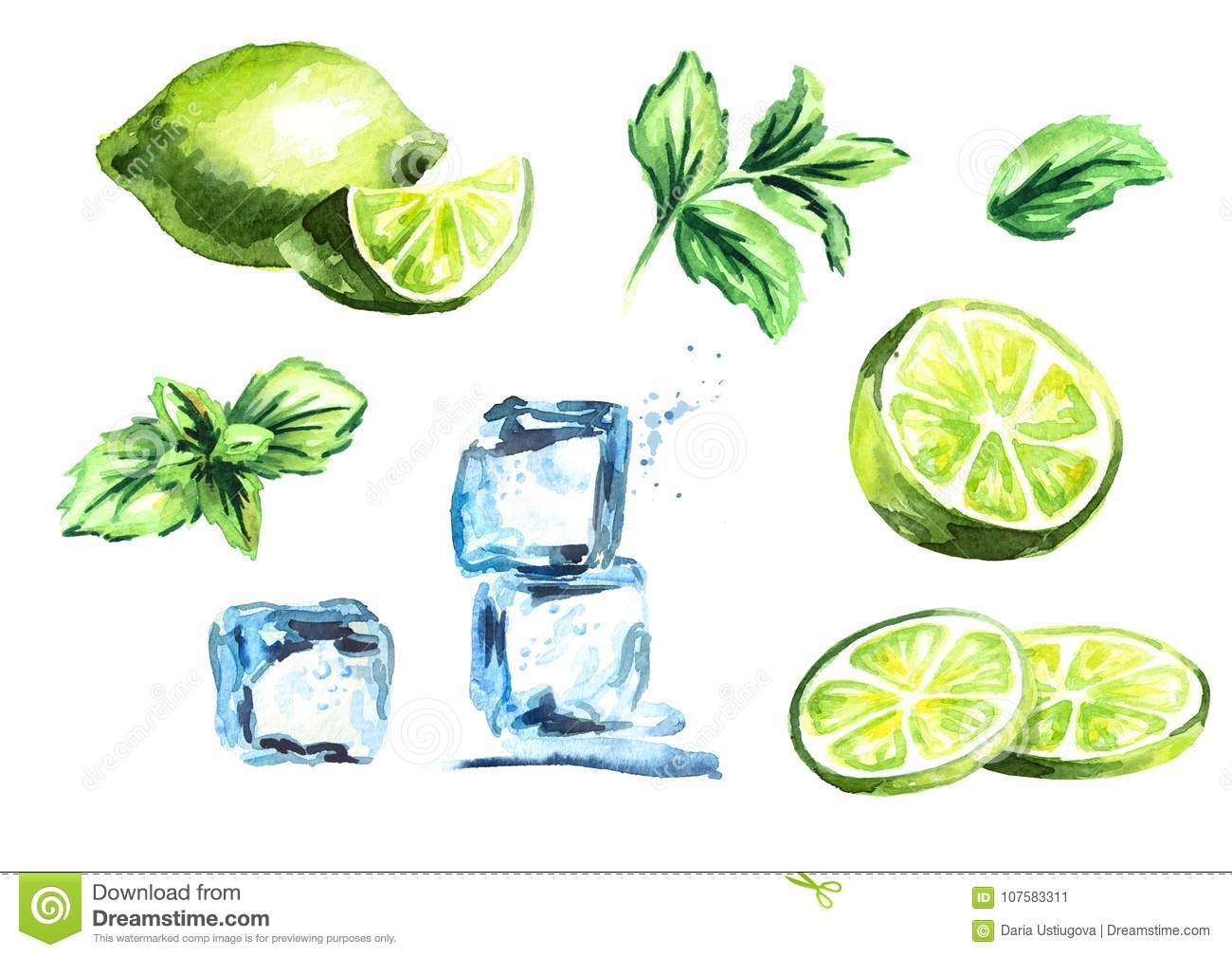 Ice cubes, lime and mint leaves isolated on white background set. Watercolor hand drawn illustration