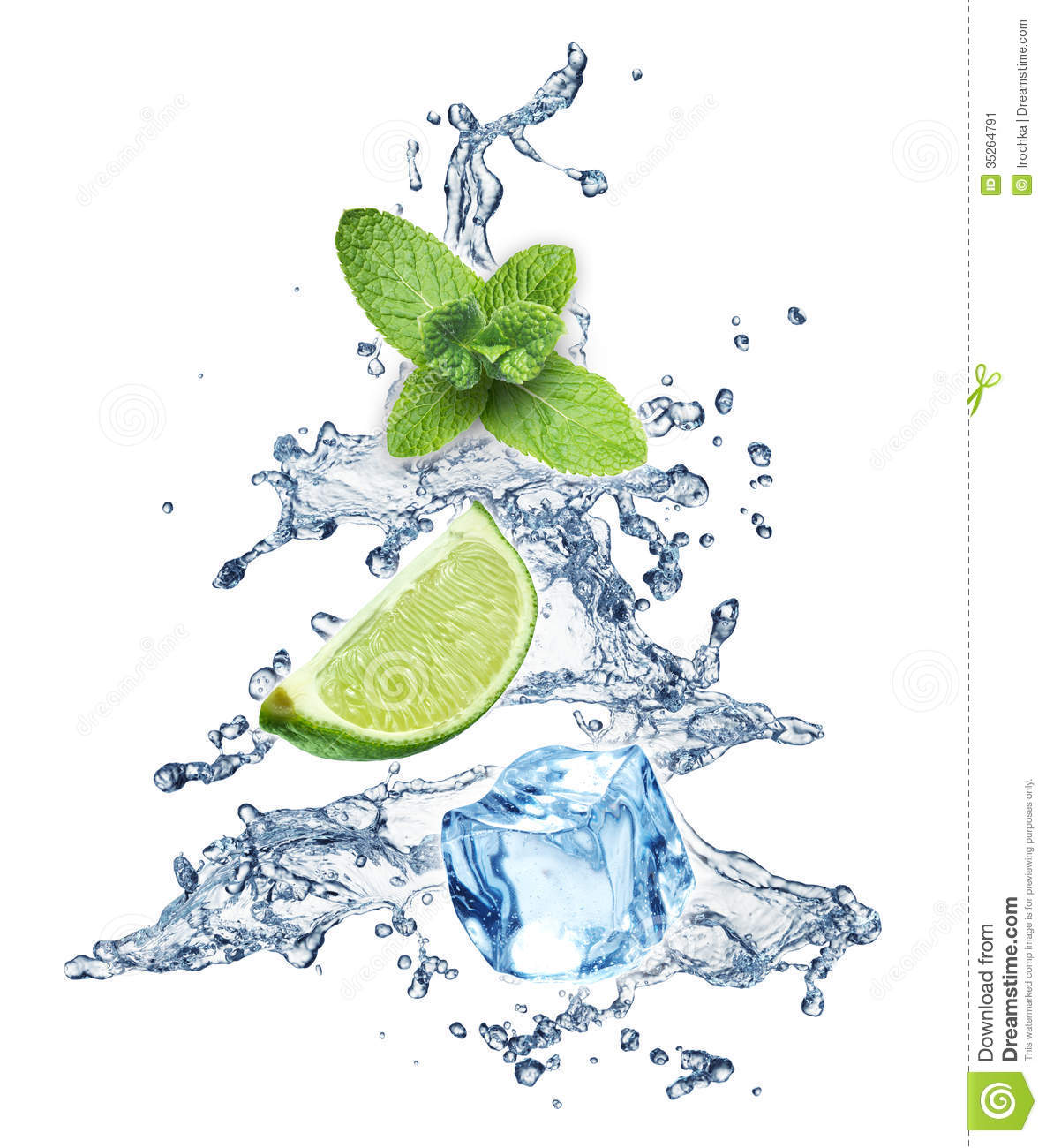 Christmas Tree Drinking Water: Ice Cubes, Mint Leaves And Lime On A White Stock Image