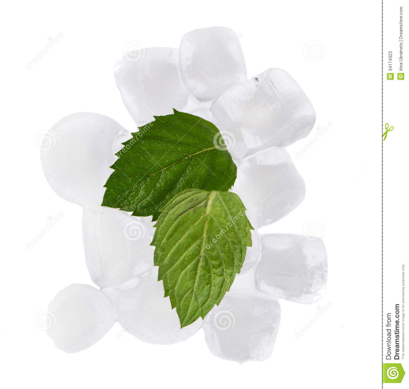 Ice Cubes, Mint Sheets Stock Photos - Image: 34174323