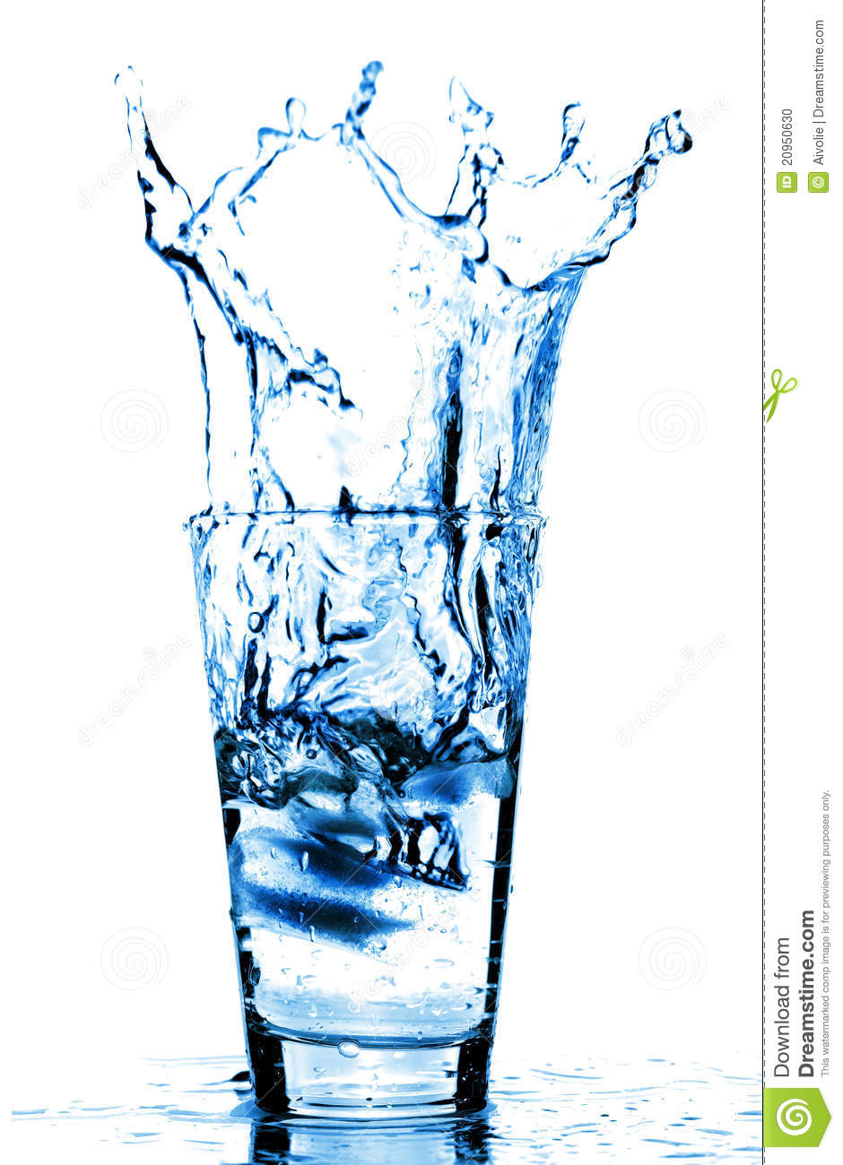 Ice Cubes Splashing Into Glass Of Wate Stock Photo Image