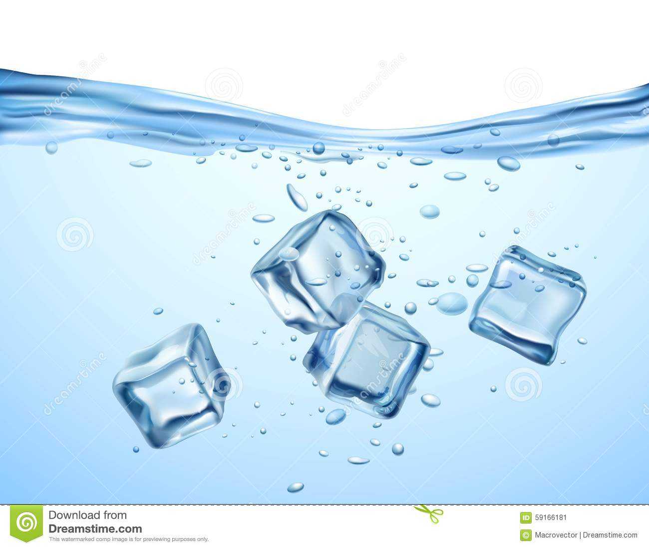 Ice Cubes In Water Stock Vector - Image: 59166181