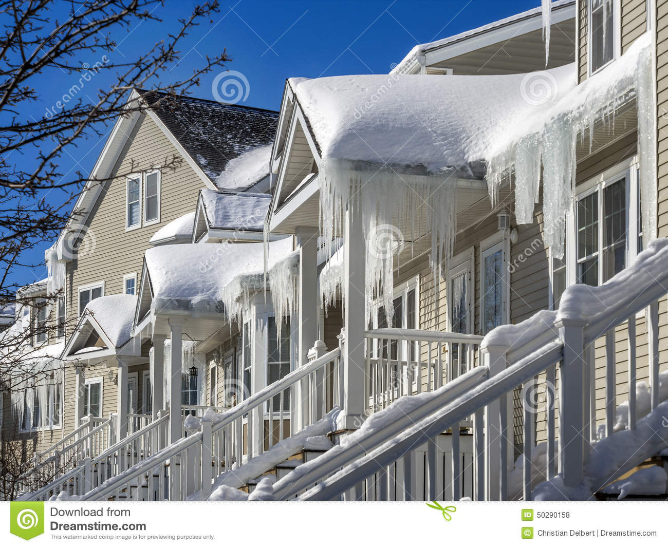 Ice Dams And Snow On Roof And Gutters Stock Photo Image