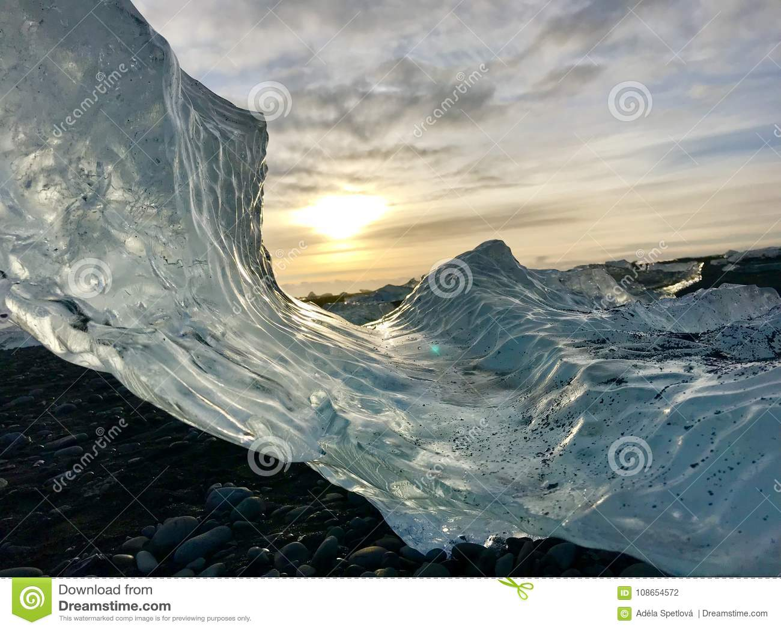 Ice On Diamond Beach Iceland Stock Photo Image Of Sunset Ocean