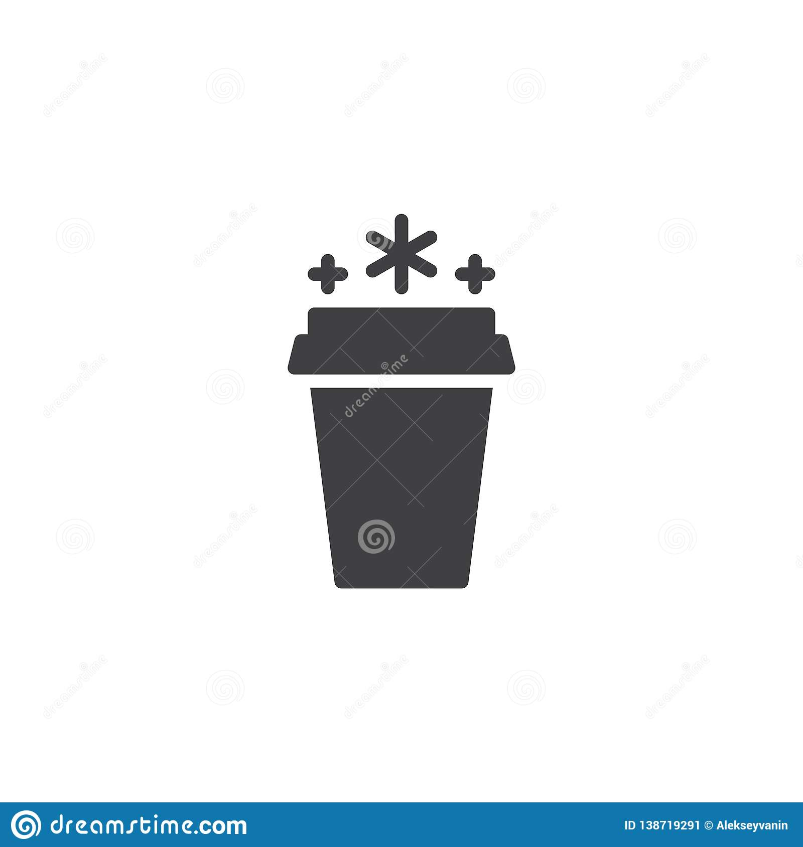 Coffee Take Away Illustration: Ice Drink Paper Cup Vector Icon Stock Vector
