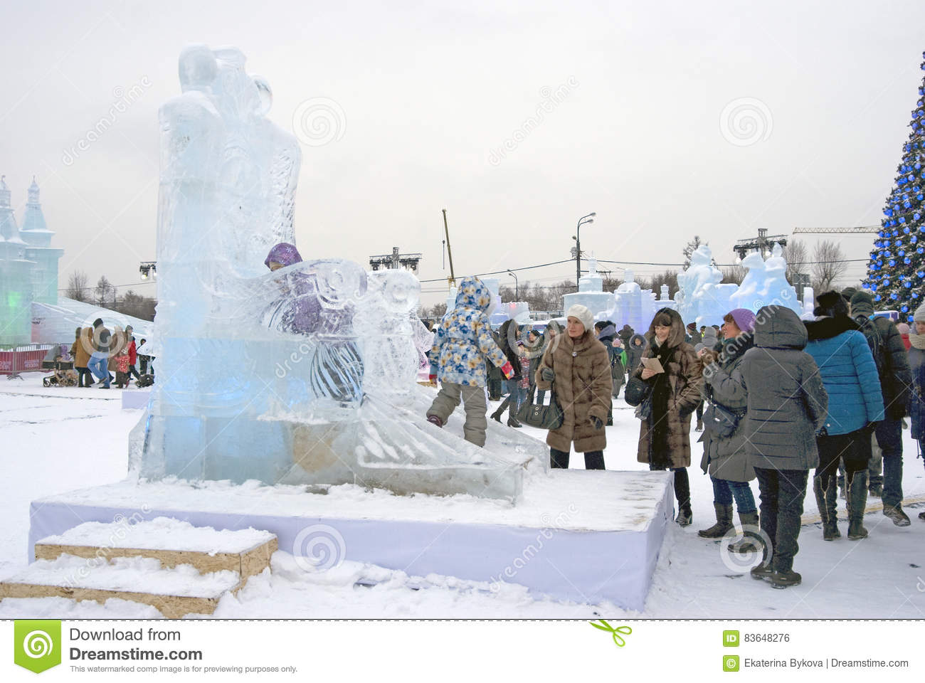 Ice figures in Moscow. editorial photo. Image of moscow - 83648276