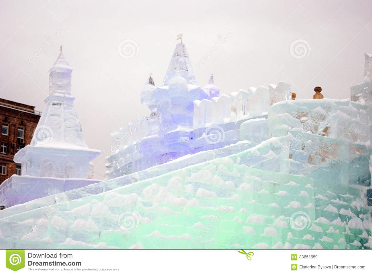 Ice figures in Moscow. editorial stock image. Image of sculpture ...
