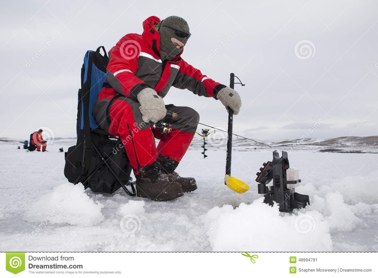 Ice Fishermen Stock Photo