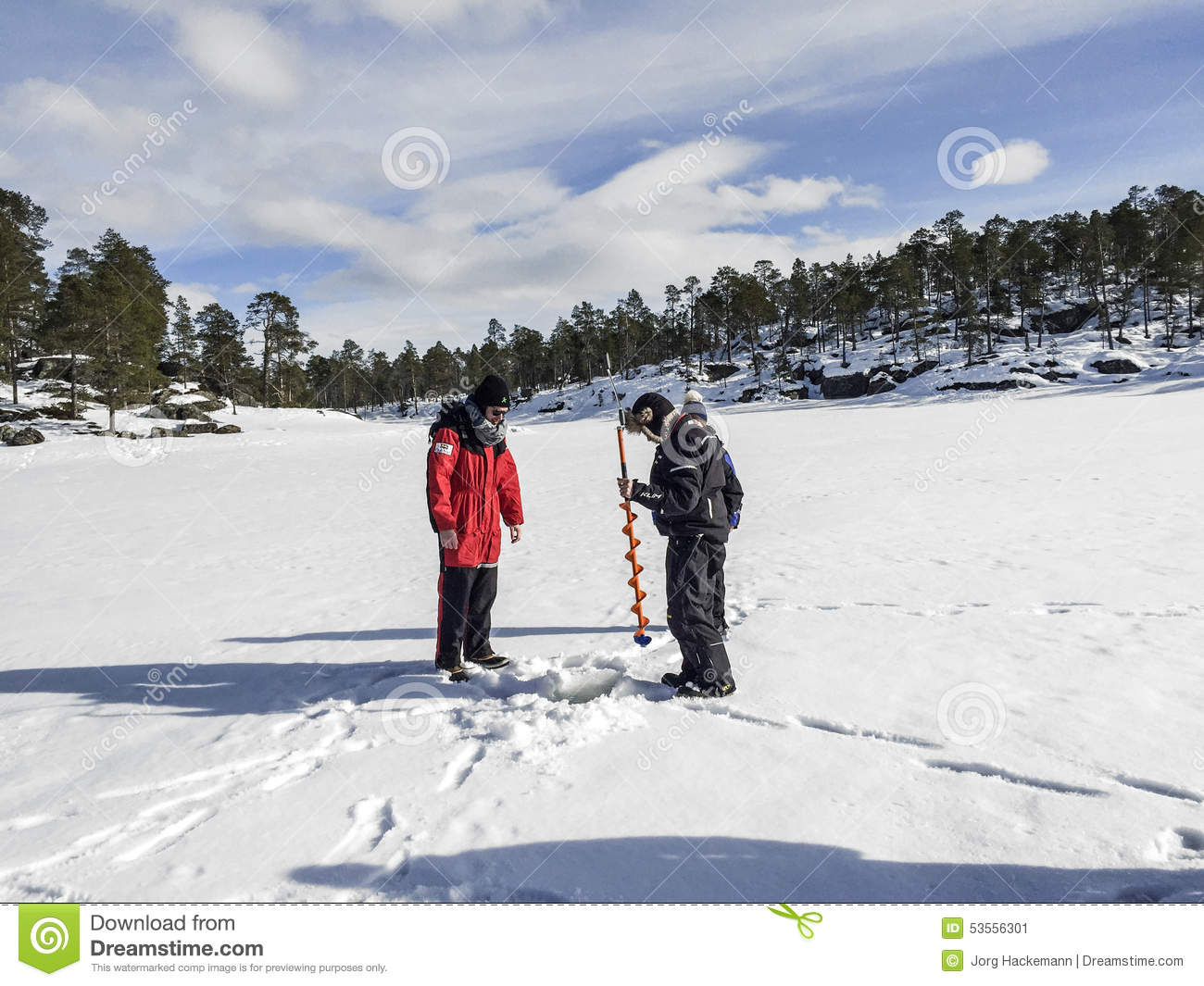 Ice Fishermen With A Hand Ice Auger Editorial Photo - Image of