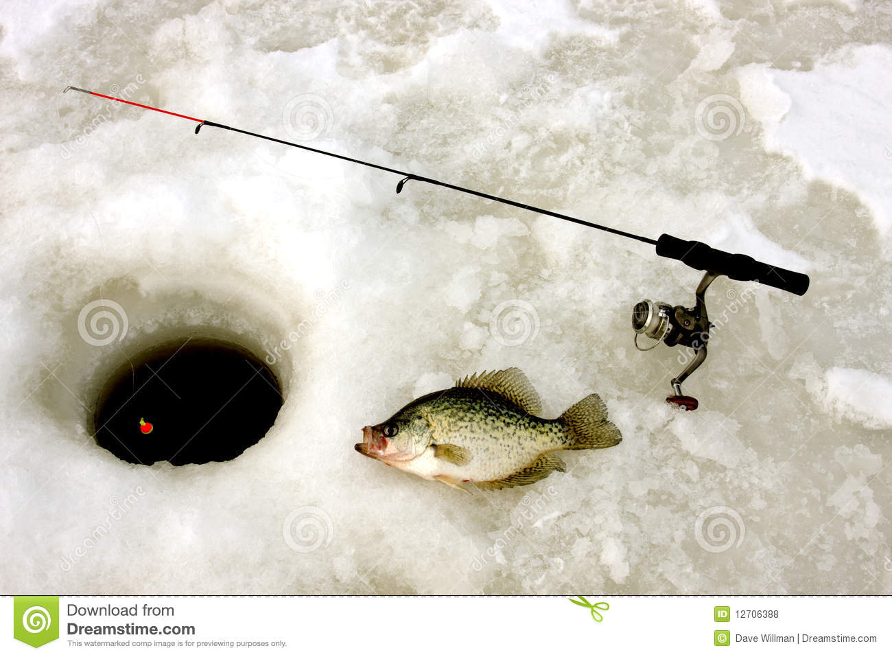 Ice fishing for crappie stock photo image of winter for Crappie fishing pole