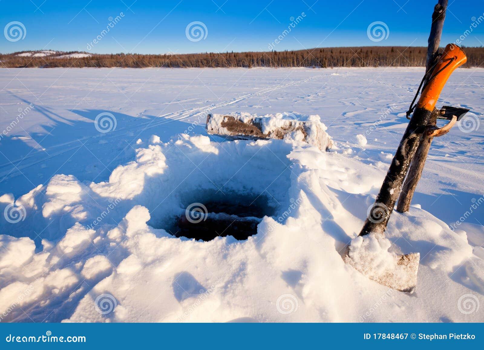 Ice fishing hole royalty free stock photography image for Ice fishing hole