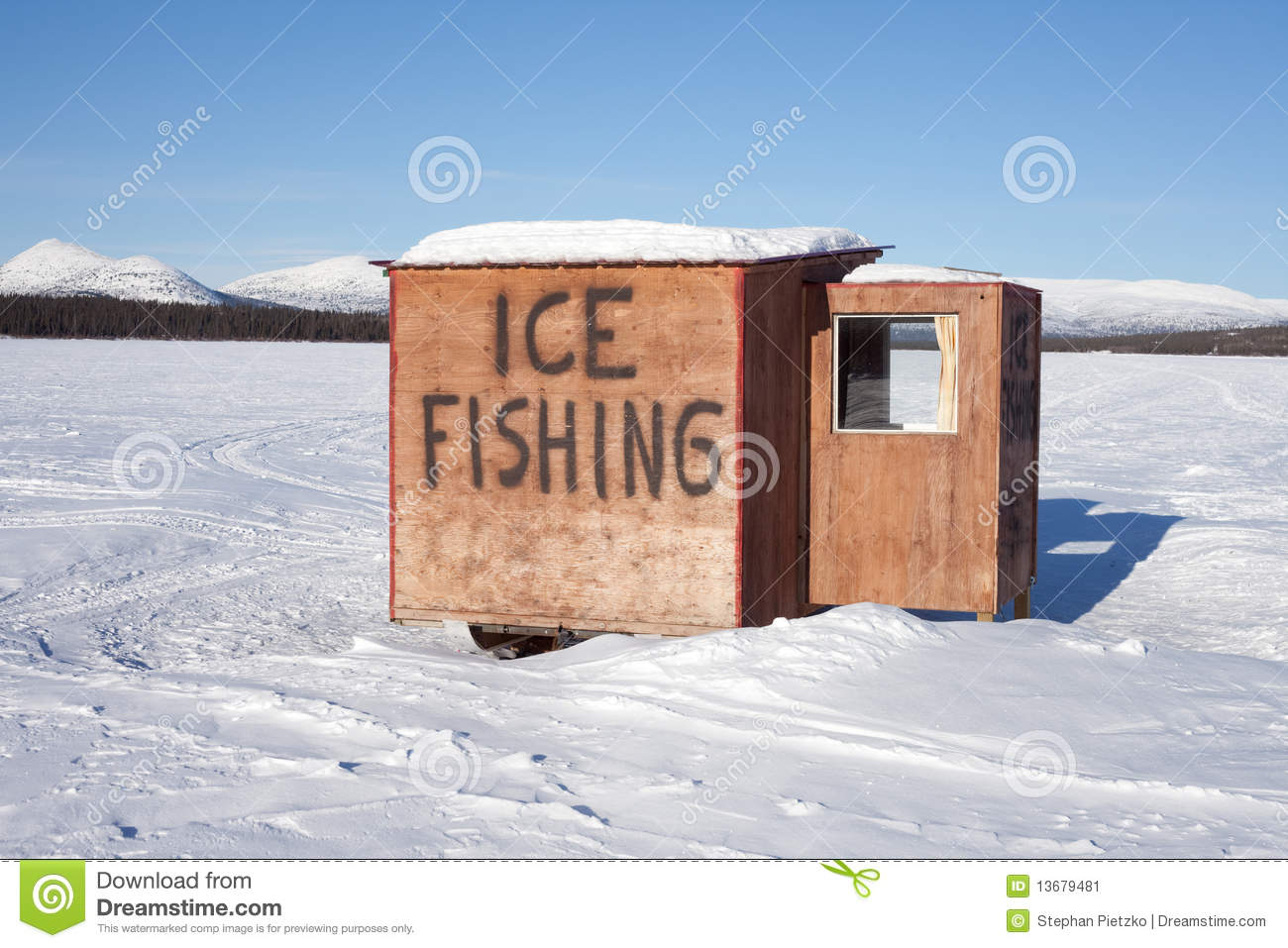 Ice Fishing Hut Stock Image Image 13679481
