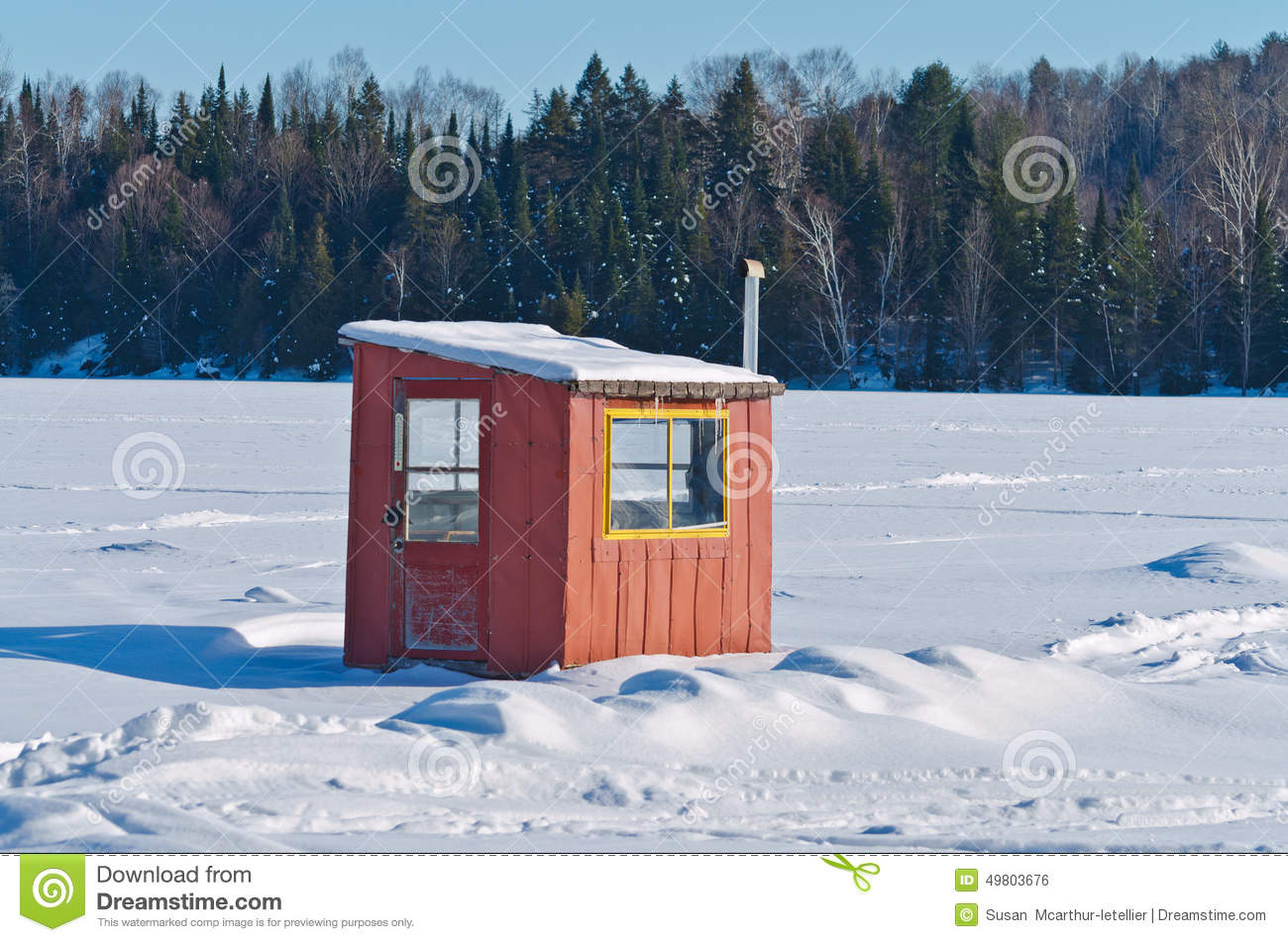 Ice fishing hut stock photo image of cabin trees for Ice fishing hut
