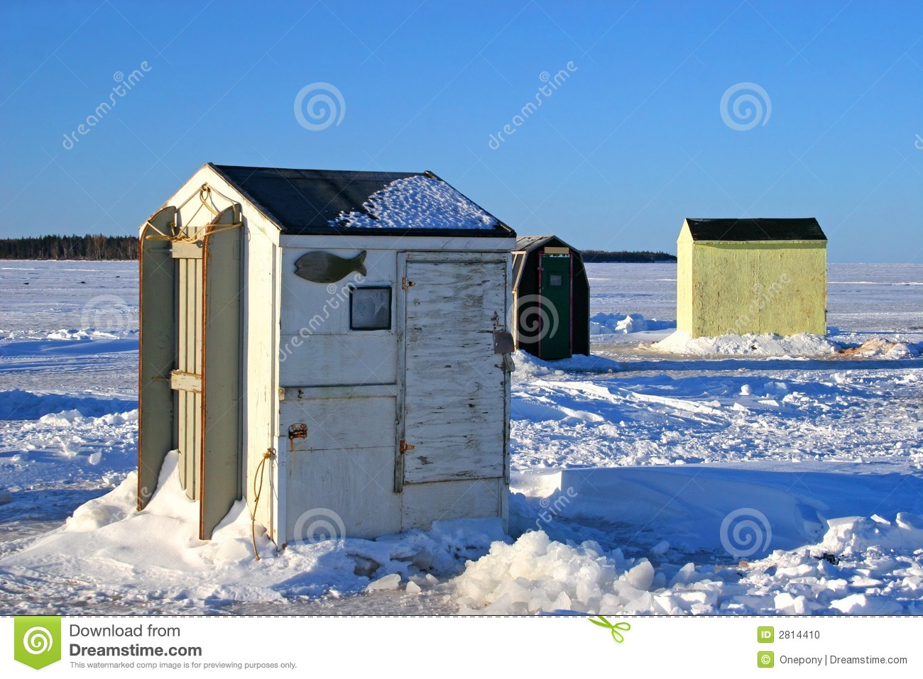 Ice Fishing Huts 2 Stock Photo Image 2814410
