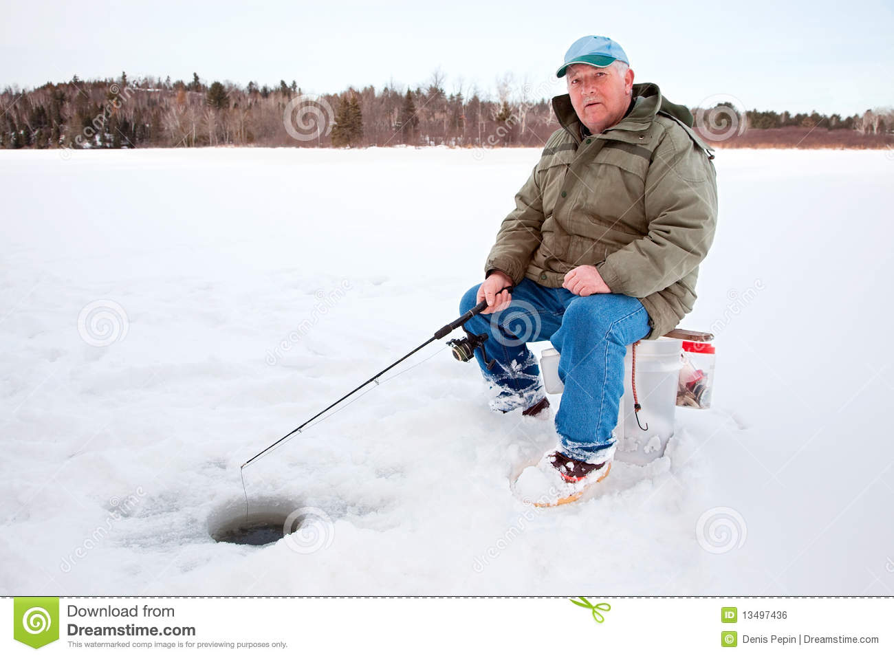 Ice fishing on the lake stock photo image of food white for Fishing times free