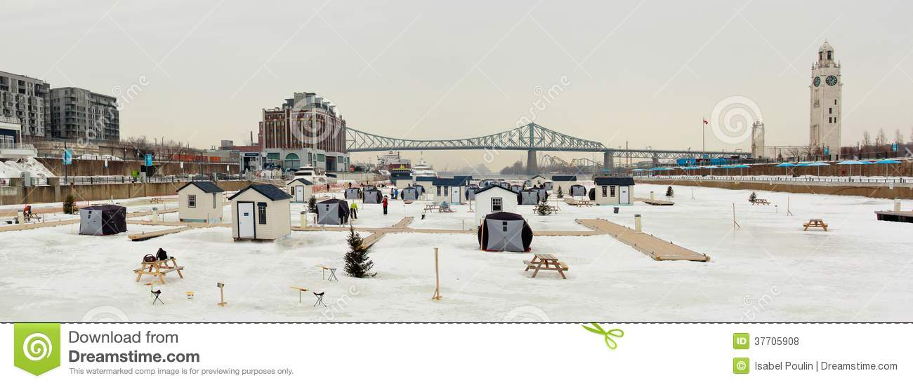 Ice fishing on saint lawrence river royalty free stock for Lawrence fish house