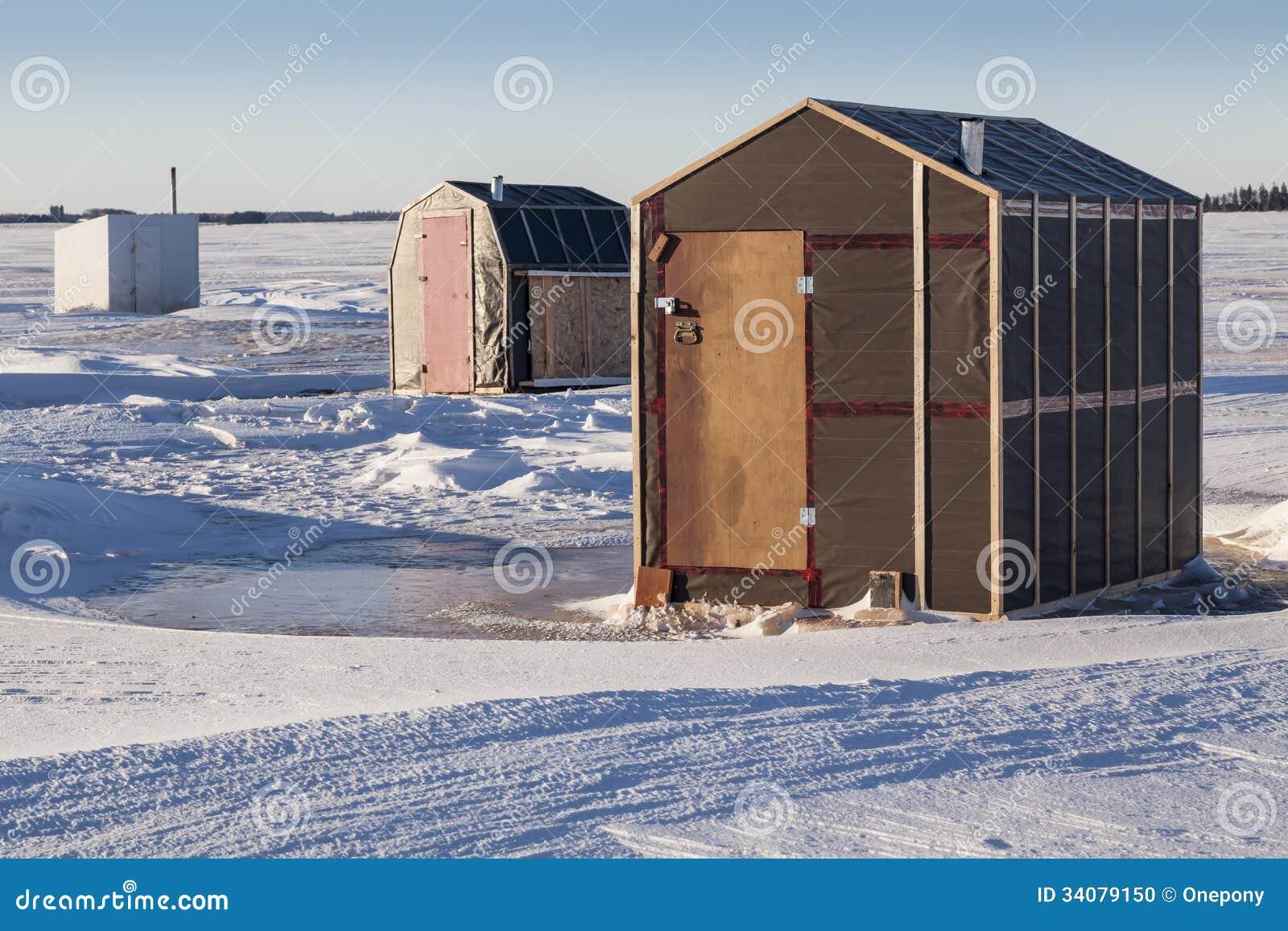 Ice fishing shacks stock photo image 34079150 for Ice fishing shacks