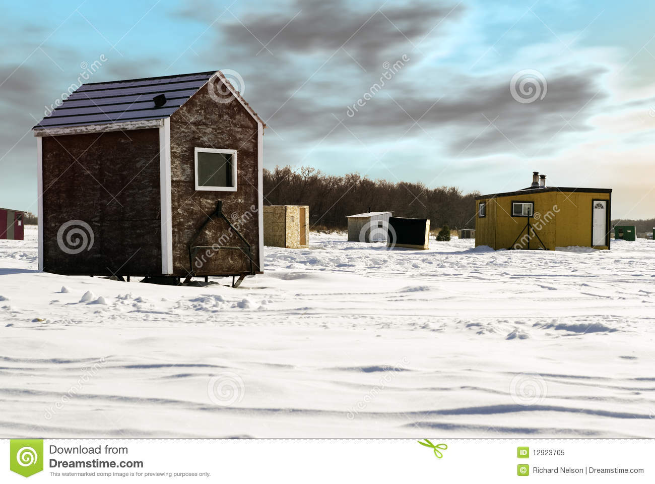 Ice Fishing Shed Stock Image Image Of Scenic Building
