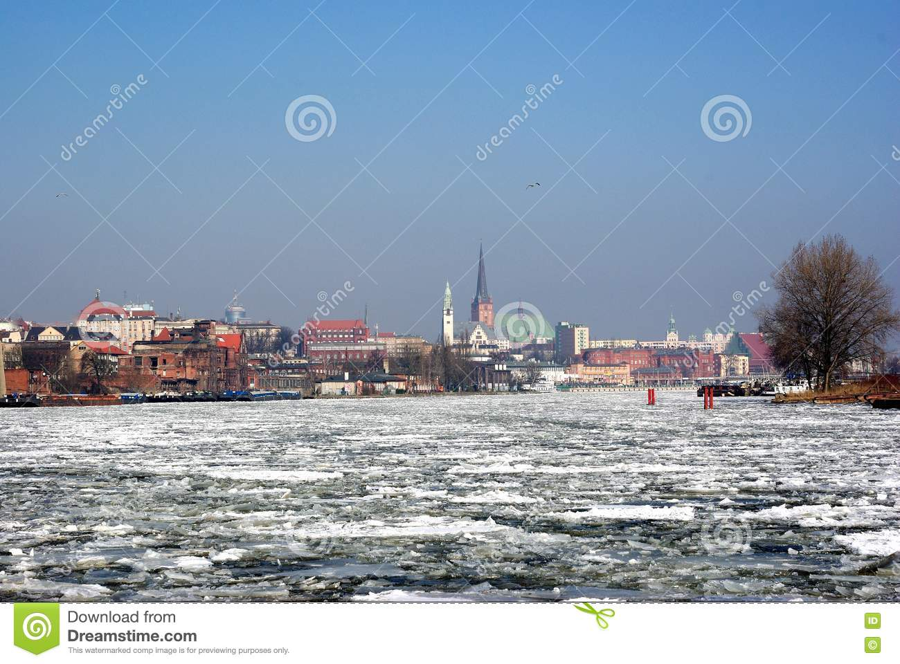 Ice float on river on city background