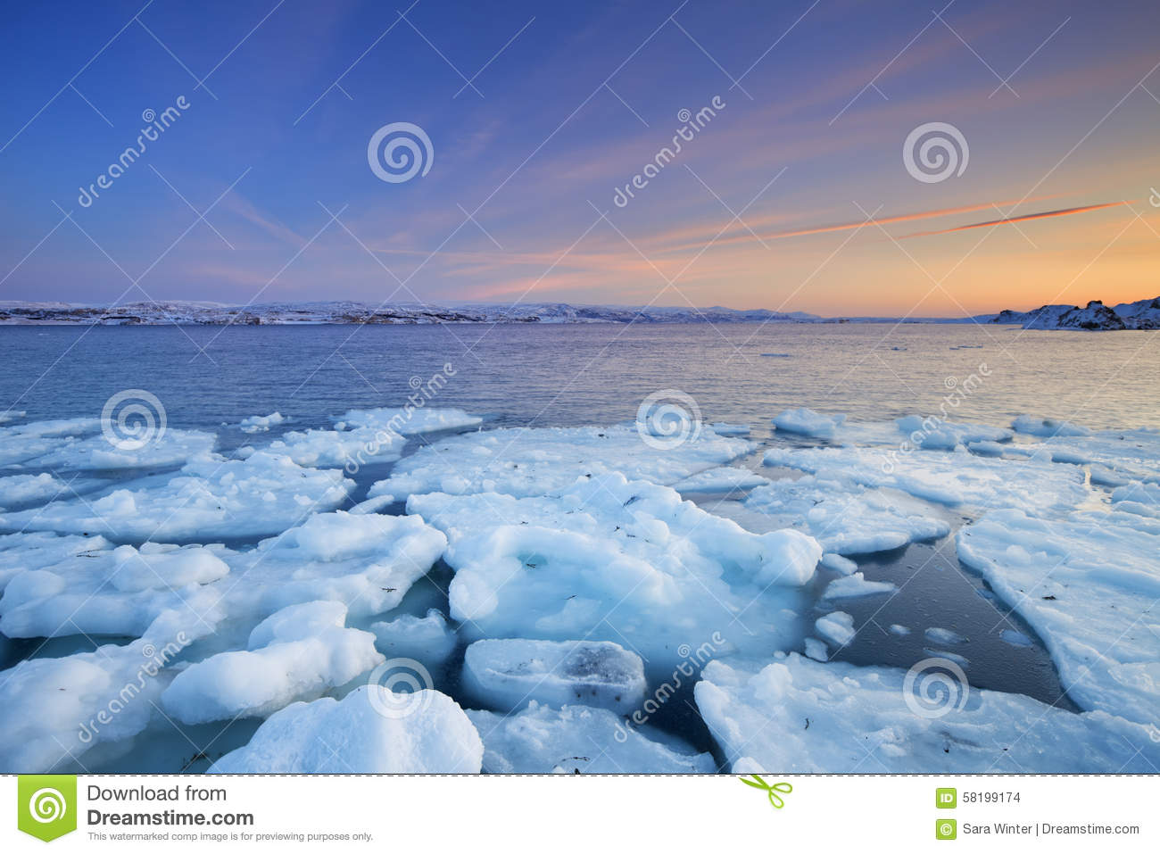 Ice floes at sunset, Arctic Ocean, Norway