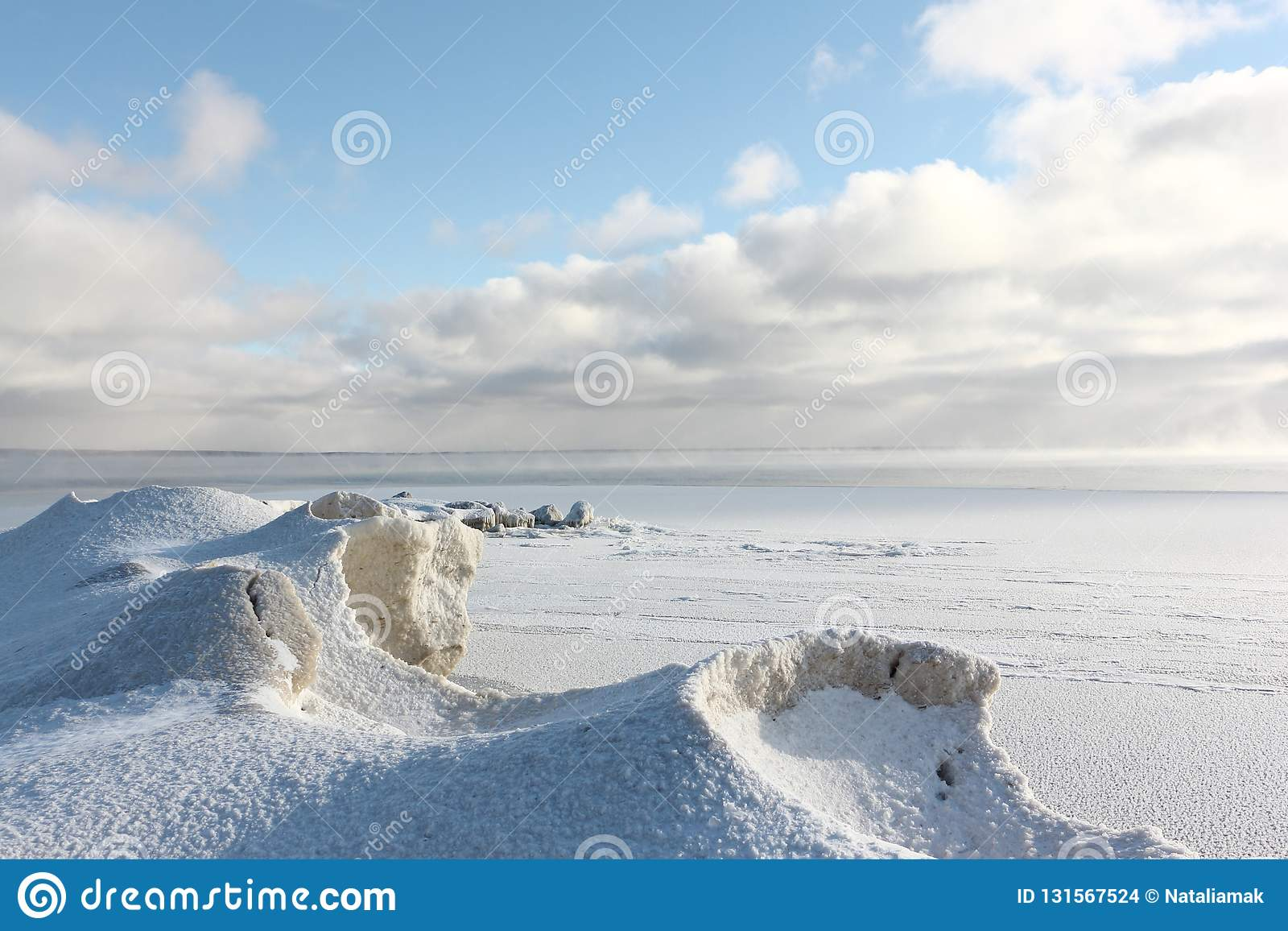 Ice forming on the river , Ob reservoir, Siberia, Russia