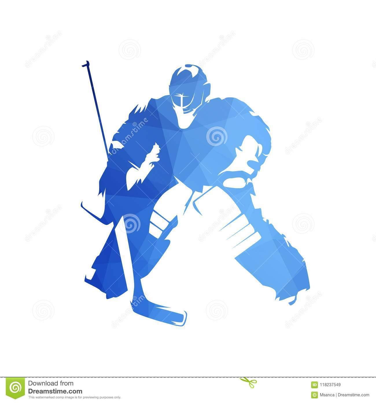 Ice Hockey Goalie Abstract Blue Geometric Vector Silhouette Stock
