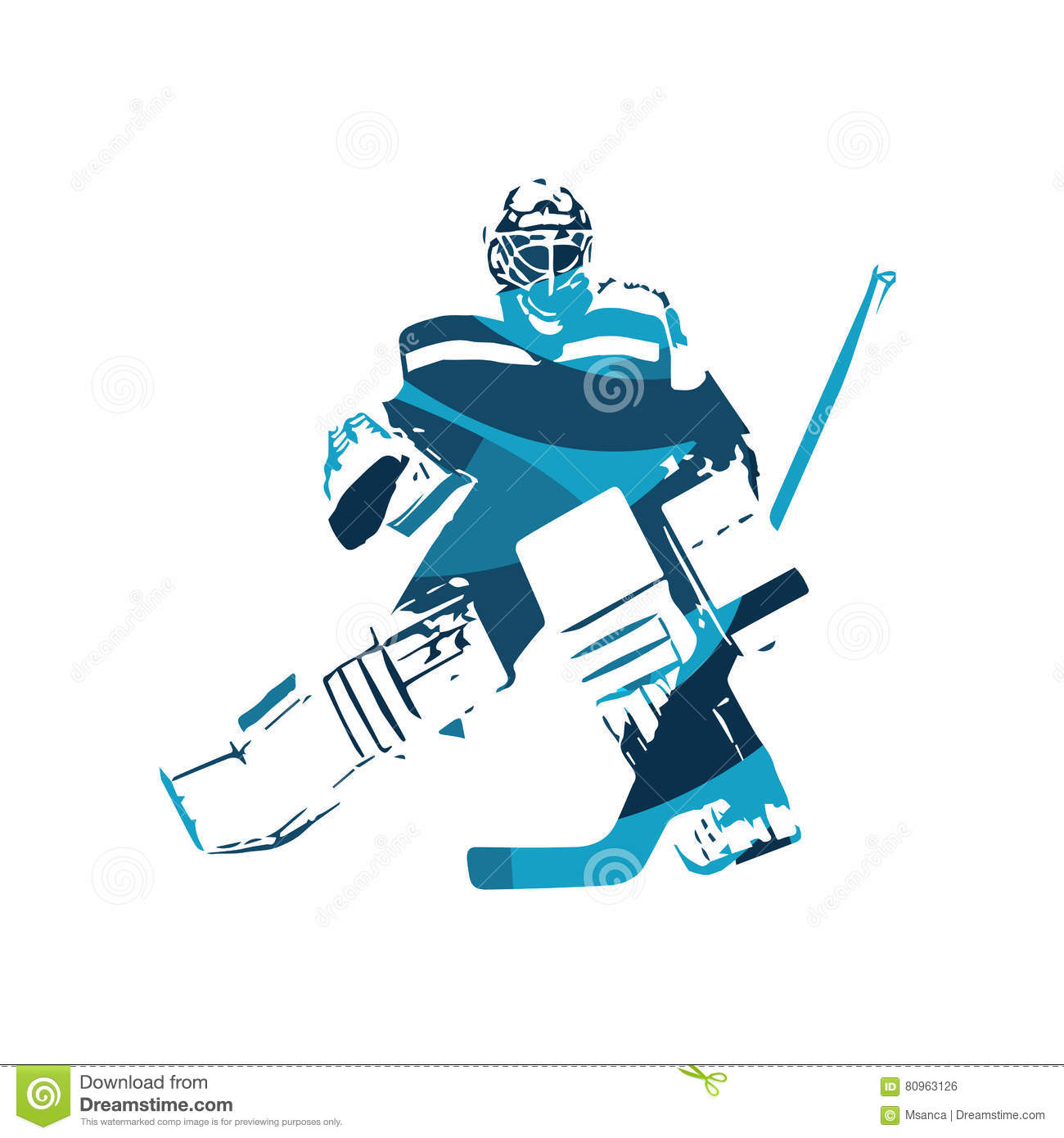 Ice Hockey Goalie Abstract Blue Silhouette Stock Vector