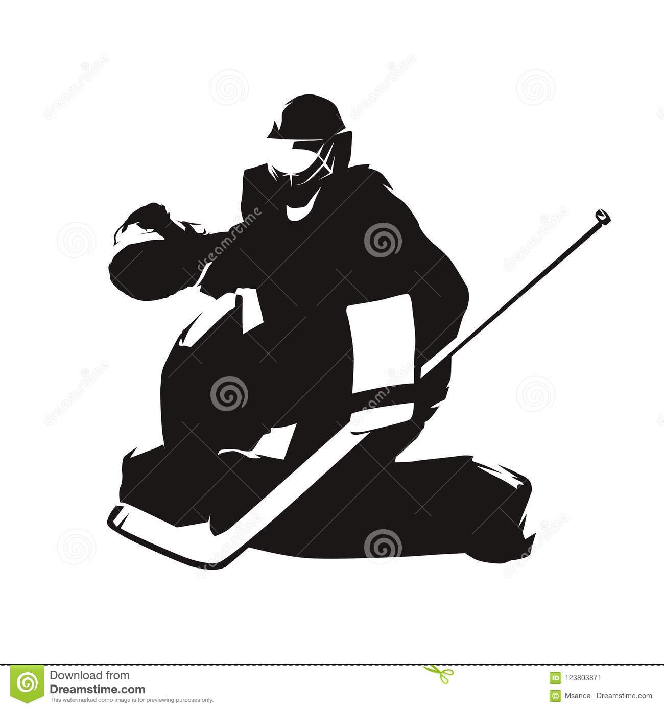 Ice Hockey Goalie Abstract Silhouette Stock Vector Illustration