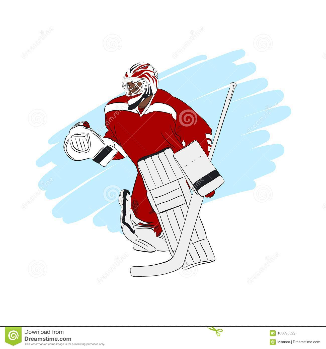Ice Hockey Goalie Isolated Vector Illustration Stock Vector