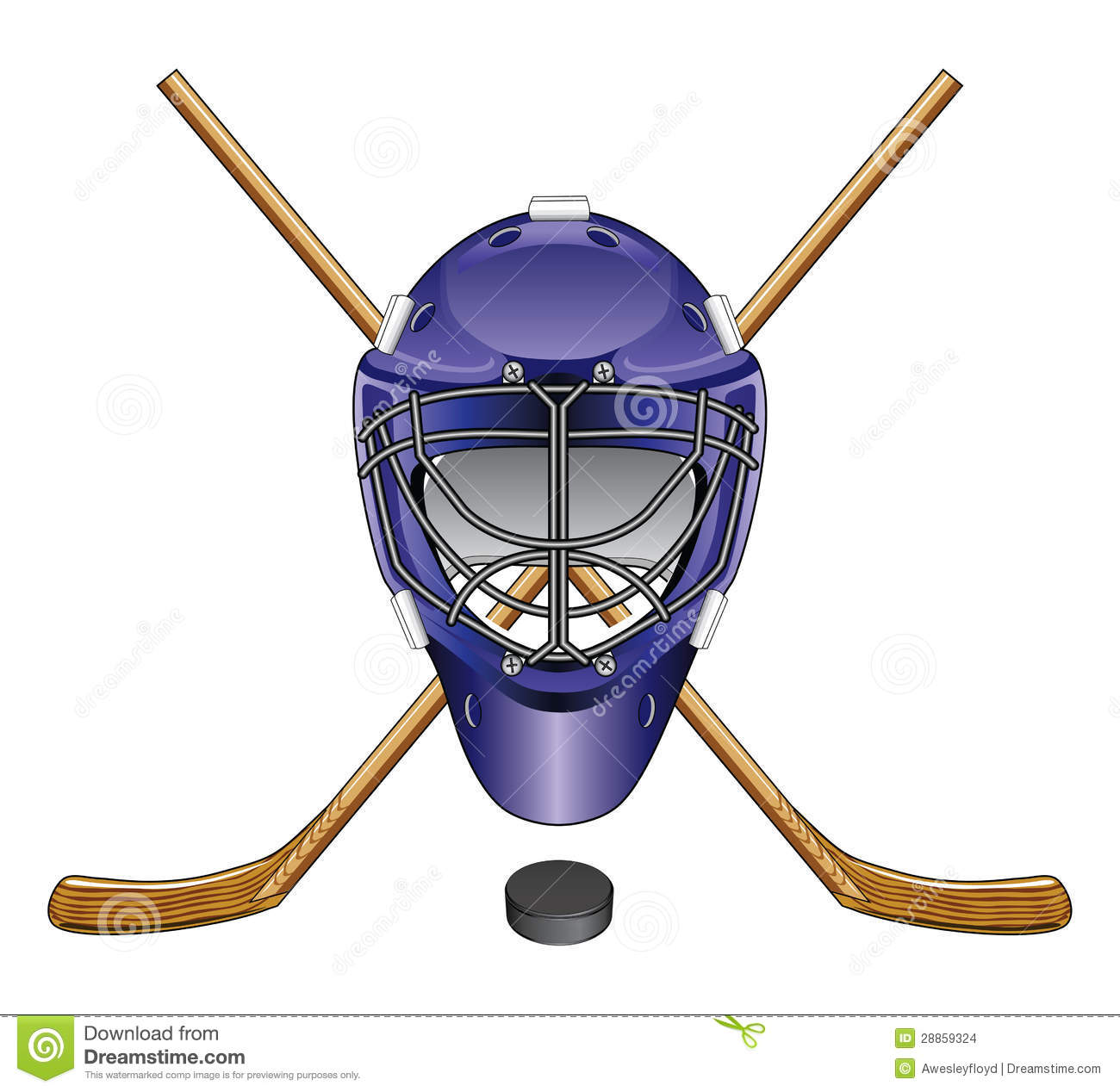 Illustration of an ice hockey goalie mask, sticks and puck. Great for ...