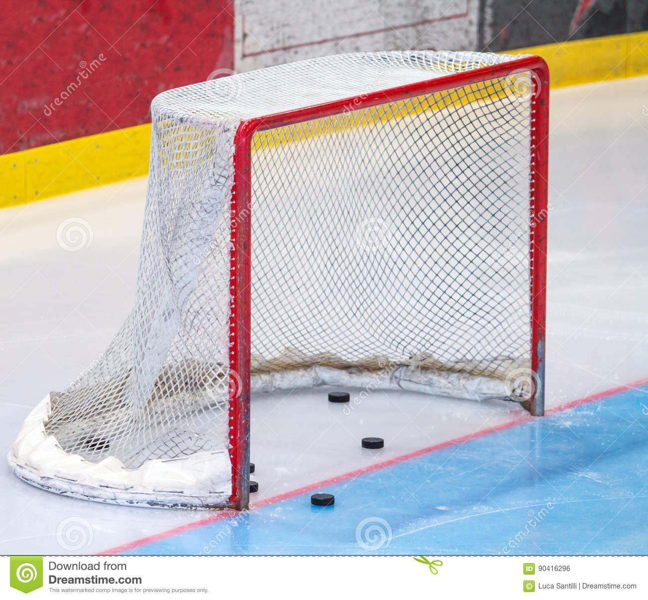 Ice hockey net with puck stock photo  Image of backgrounds - 90416296